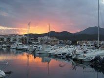 Port Llança Catalonia. Sunset in port Llança Catalonia Royalty Free Stock Image