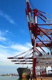 Port with loading cargo ship Stock Photos