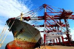 Port with loading cargo ship Royalty Free Stock Photo