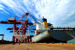 Port with loading cargo ship Royalty Free Stock Photography