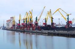 Port, loading, cranes, coal, wagon, cargo terminal Royalty Free Stock Photos