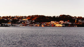 Port located in the small norwegian town Stock Photo