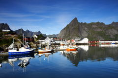 A port in the lofoten. A very scenic port in the lofoten islands (norway) by a sunny day Stock Images