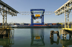 Port Logistics. Port area, the logistics of river transport on barges Stock Photography