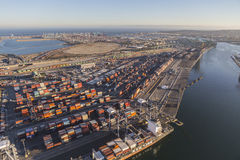 Port of Los Angeles Afternoon Aerial View Stock Photos