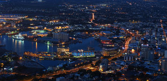 Port-Louis capital city of Mauritius at night Royalty Free Stock Images