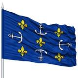 Port Louis City Flag sur le mât de drapeau Images libres de droits