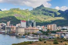 Port Louis cityscape, Mauritius Arkivbilder