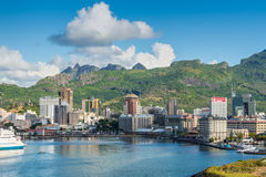 Port Louis cityscape, Mauritius Arkivbild