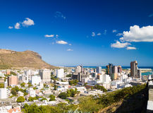 Port Louis Mauritius. City skyline over blue sky Stock Image