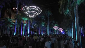 PORT LOUIS, MAURITIUS - DECEMBER 04, 2015: Night and light festival of contemporary Culture in Port Louis, Mauritius. Night show. stock footage