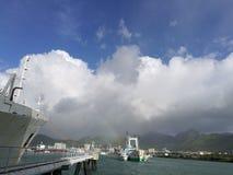 Port-Louis, vue de port des Îles Maurice Photo libre de droits