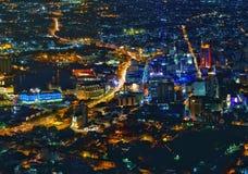 Port-Louishoofdstad van Mauritius bij nacht Stock Foto's