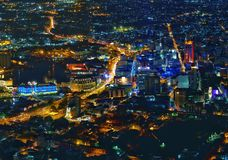 Port-Louishuvudstad av Mauritius på natten Arkivfoton