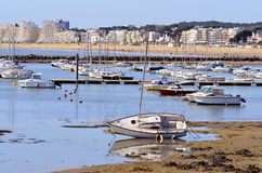 Port in low tide of Pornichet in France Stock Photo