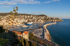 Port Lympia as seen from Colline du chateau - Nice royalty free stock photo