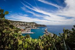 Port Lympia as seen from Colline du Chateau - Nice, France royalty free stock images