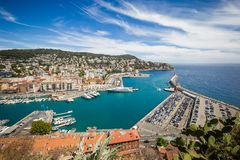 Port Lympia as seen from Colline du Chateau - Nice, France Royalty Free Stock Photography