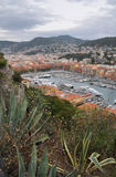 Port Lympia, Nice, Cote d'Azur, France. The Chateau de Nice is the park that sits on the hill high above the city of Nice. You can drive or climb the very steep Stock Images