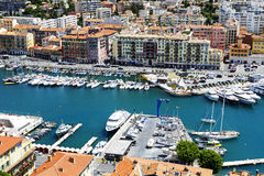 Port Lympia in Nice in France, aerial view Royalty Free Stock Image