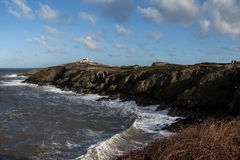 Port Lynas. And rough seas off the Isle of Anglesey North Wales UK Royalty Free Stock Image