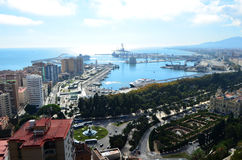 Port of Málaga Landscape View from Mount Gibralfaro in Málaga, Spain. The Port of Málaga Landscape View from Mount Gibralfaro in Málaga, Spain Stock Photography