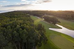 Port Macquarie Golf Course at Sunset royalty free stock image