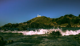 Port Macquarie rock pool lighthouse view Stock Photo