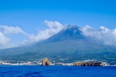 Pico Island approach from the ocean Stock Image