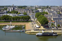 Port on the Maine river at Angers in France Royalty Free Stock Images