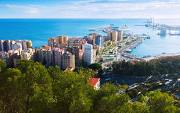 Port of Malaga from castle Royalty Free Stock Image