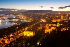 Port of Malaga in  evening Stock Photo