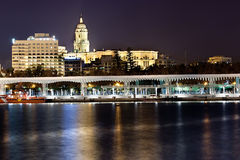 Port of Malaga in the night. Muelle Uno. Royalty Free Stock Photography