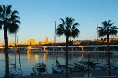 Port of Malaga in  sunny morning Royalty Free Stock Photo