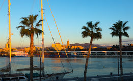 Port of Malaga in  sunny morning Stock Images