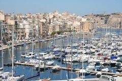 Port of Malta. Valetta Harbor with yachts and sail boats on the island of Malta, Europe. Famous holiday destination due to the unique view Stock Image