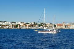 Port of Mandraki old town Rhodes, Greece. royalty free stock photos