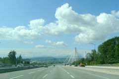 Port Mann Suspension Bridge. The roadway leading onto the Port Mann bridge, Canada`s largest cable stayed suspension bridge and the second longest such bridge in Royalty Free Stock Photo