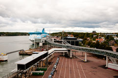 Port of Mariehamn. The port of Mariehamn, the capital of Åland, seen from the deck of a cruise ship in the port Royalty Free Stock Images