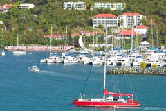 Port marine in Tortola, Caribbean. Roadtown marine in Tortola, British Virgin island, Caribbean Royalty Free Stock Photo