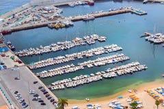 Port maritime Blanes, bateaux de pêche et yachts, Espagne Image libre de droits