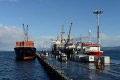 Port maritime d'Ushuaia - la ville la plus la plus au su'au monde Photographie stock