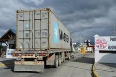 Port maritime d'Ushuaia - la ville la plus la plus au sud de la terre Images libres de droits