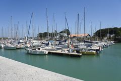 Maritime port in oleron Island, beautiful blue water and sky. Port maritime sur l& x27;ile d& x27;Oleron avec l& x27;eau et le ciel bien bien. Lile, doleron royalty free stock image