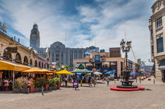 Port Market - Mercado del puerto - Montevideo Uruguay. Montevideo, Uruguay - December 15, 2012: A view of Mercado del Puerto in the left, the famous place in stock photography