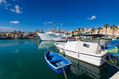 Port in Marsaxlokk on Malta. Colorful touristic landscape of Port in Marsaxlokk on Malta island. Beautiful seascape in south Europe Royalty Free Stock Photos