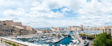 Port of Marseille, France. View on busy harbor of french city Marseilles with many private boats and yachts, France Royalty Free Stock Photos