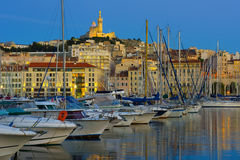 Port in Marseille in a summer night Royalty Free Stock Images