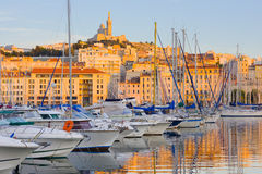 Port of Marseille at sunset time Stock Photo
