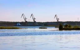 Port med päfyllningskranar på flodbanken arkivfoto